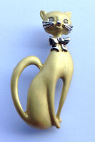 Kitty Cat Brooch Pin Brushed Gold Tone Enamel Clear Crystal Free Shipping Gifts