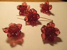 8 Transparen Dr Rose  Flower  Lampwork Glass Beads   04V
