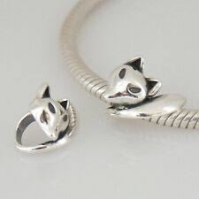 FOX-Deco-Animal-Solido 925 argento Sterling Charm Bead Europeo