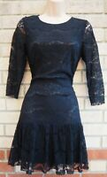MELA LOVES LONDON 3/4 SLEEVE LACE A LINE BLACK MINI PARTY TEA RARE DRESS 10 S