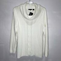 Jeanne Pierre Woman's Sweater sz XL Beige Cotton Cowl Neck Cable Knit NWT