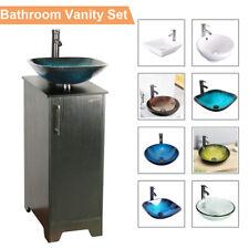 "New listing 14"" Black Bathroom Vanity Cabinet Set Vessel Glass Ceramic Sink Faucet Combo New"