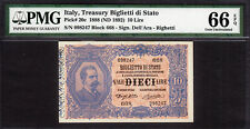 Italy 10 Lire 1888 (ND 1892) Pick-20c GEM UNC PMG 66 EPQ ONLY FINEST KNOWN !