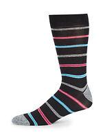 Saks Fifth Avenue Cotton Blend Multi-Color Jasper Striped Men's Socks 10-13 NWT