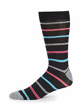 Saks Fifth Avenue Cotton Blend Multi-Color Jasper Striped Men's Socks 10-13 NWT