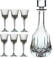 RCR Adagio Wine Liqueur Crystal Decanter With 6 Stemmed Glasses 7 Piece Set