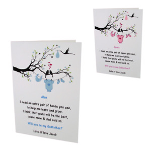 PERSONALISED Will You Be My Godmother/Godfather/Godparents Request CARD