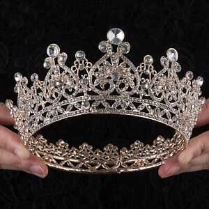 Jeweled Baroque Wedding Crown Rhinestone Princese Queen Bridal Tiara Headbands