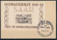 Saarland Hochwasserhilfe 1948 Luftpost-Block Michel Block 2 Attest (S15054)