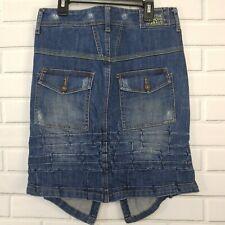 Marithe Francois Girbaud Denim Skirt Blue Jean 29 Pleated Distressed Uneven Hem