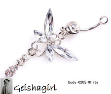Crystal Rhinestone CZ Gem Clear Navel Dangle Butterfly Bar Piercing Belly Ring
