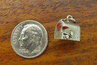 Vintage silver MOVABLE MAILBOX HEART LOVE VALENTINE SWEETHEART ENAMEL charm