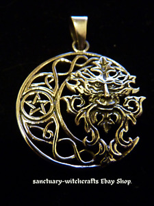 Sterling Silver GREEN MAN Celtic Moon & Pentagram Pendant. Pagan/Wiccan.