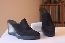 Robert Clergerie Paris Black Leather 3 1/2 Inch Wedge Platform Mules Size 10 B