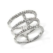 Mateo Bijoux Sterling Silver White Zircon Triple Band Ring Size 7 HSN $139.90