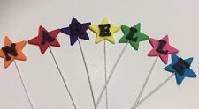 Stars On Wire Edible With The Letters Of The Name Sugar Cake Toppers -Each $1.20