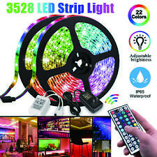 16.4FT Flexible Strip Light 3528 /2835 RGB LED Remote Fairy Lights Room TV Bar