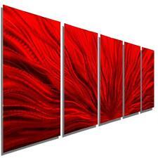Contemporary Multi Panel Wall Sculpture Red Modern Metal Wall Art - Jon Allen
