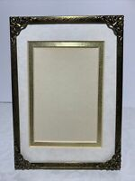 New Vintage Gold Embossed Metal Picture Frame Corner Caps Standing  5x7