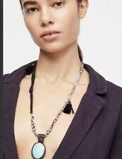 NWT Free People Maverick Embellished Pendant Blue Stone Tassel Leather Necklace