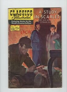 Classics Illustrated First Print #110. A Study in Scarlet, HRN 111, Very Good.