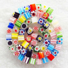 M044 A strand Intriguing Millefiori glass Cube Loose bead 15.5inch