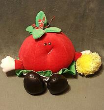 "1986 Avon Somersaults Tallulah Tomato Red Plush Stuffed Yellow Pom Pom Skirt 8"""