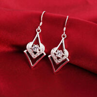 Women Fashion Jewelry 925 Sterling Silver Plated Heart Drop Dangle Hook Earrings