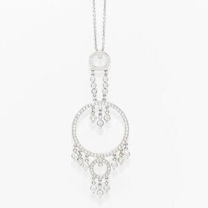 NYJEWEL New 18k Gold 3ct Diamond Dangle Style Pendant Necklace
