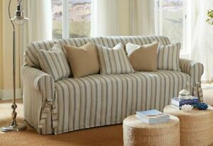 Sofa Sure fit sofa size slipcover harbor stripe tan and white washable  damage
