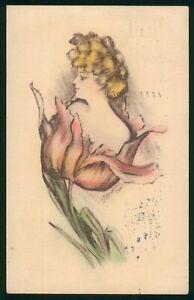 Mayfairstamps Art Woman in Flower Postcard wwo_64633