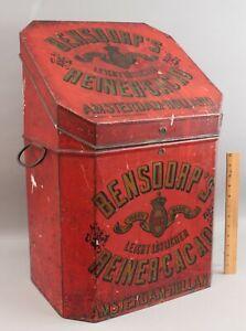 Rare Antique 1900 Large Bensdorp Cocoa Country Store Tin Toleware Bin, NR