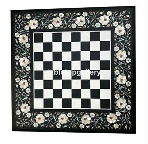 """20"""" Marble Chess Table Top Mother of Pearl Floral Inlay Art Playroom Decors B097"""