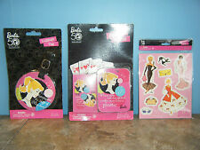 BARBIE 50TH ANNIVERSARY PLAYING CARDS / MAGNET SET & LUGGAGE TAG  *NEW*