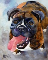 Boxer Dog 11x14 signed art PRINT RJK from painting - Boxer Dog Gifts