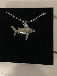 Shark R74 English Pewter on a Silver Platinum Plated Necklace 18""