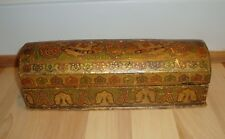 """Antique pre-1900 1800s Gilt & Painted Persian India Mughal Wooden Wood 10"""" Box"""