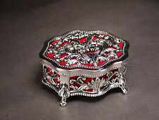 Silver Color Decorated Jewellery Trinket Box Lined With Red Velveteen #53