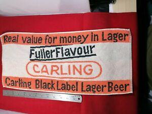 VINTAGE CARLING BLACK LABEL LAGER BEER PUB BAR TOWEL BEER MAT BREWERIANA 1970s