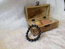 Shungite Bracelet (d-10mm) on elastic with Silver Flat Round Metal Beads