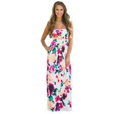 Damen Bandeau Sommer Maxikleider Boho Lang Kleid Party Cocktailkleid Strandkleid