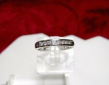 KUBER 14K WHITE GOLD 8 ROUND DIAMOND CHANNEL SET ANNIVERSARY BAND RING SIZE 5
