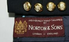 1985 NORTON & SONS Savile Row US Sz 44 Navy w Crown Gold Buttons Sport Coat Wool
