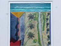 RARE California Beach Iconic painting Santa Monica original by DOUGLAS K. MORRIS