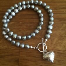 DESIGNER GREY FRESHWATER PEARL NECKLACE STERLING SILVER HEART PENDANT GRAY PEARL
