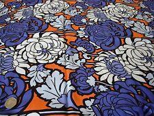 Viscosa raso Sarga print-bright floral-purple/Naranja -dress Tejido