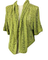 Suzanne Grae Size S Lime Green Knitted Shrug  Cropped Short Sleeved