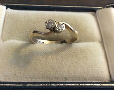 Pretty Ladies Vintage Full Hallmarked 9CT Gold Two Stone Diamond Twist Ring