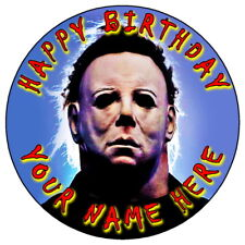 "MICHAEL MYERS HALLOWEEN - 7.5"" PERSONALISED ROUND EDIBLE ICING CAKE TOPPER (2)"
