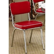1950's Style Diner Chairs 2 Set Retro Decor Dining Kitchen Red Back Chrome Vinyl